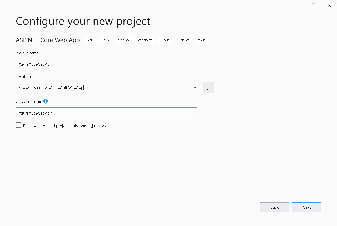 configure your new project in visual studio