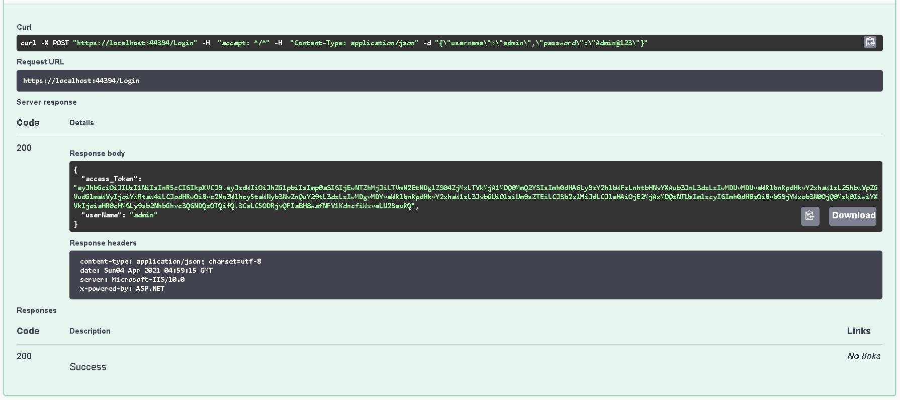 token and user name in login response